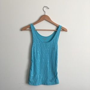 ⬇️ Old Navy   Turquoise Sequined Tank Top Small
